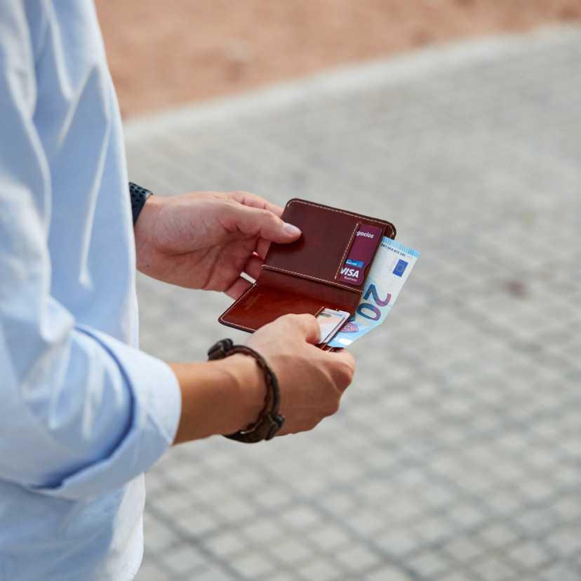 Leather small men's wallet Mini