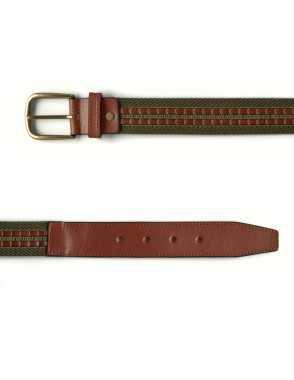 Leather & Canvas Belt - Green