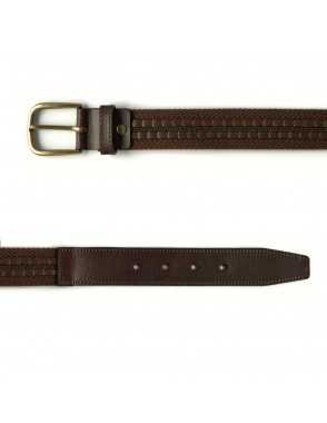 Leather & Canvas Belt - Brown
