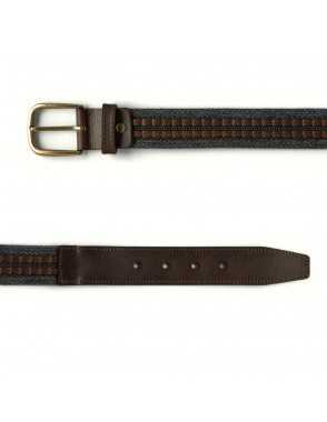 Cinturón Lona y Cuero - Gris
