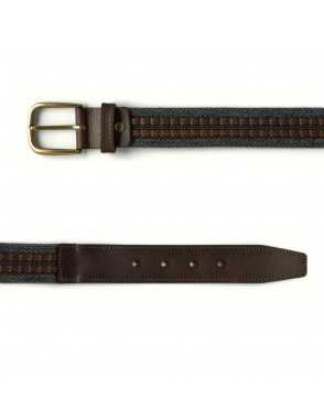 Leather & Canvas Belt - Grey