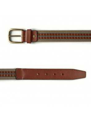Leather & Canvas Belt - Beige