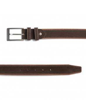 Man suede leather belt - Brown