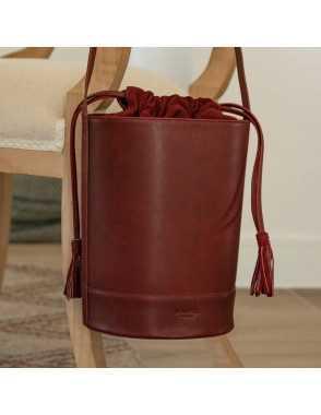 Round Bucket Bag - Burdeos