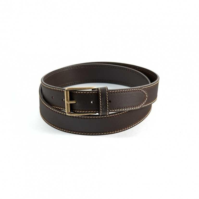 Cinturón de Piel Básico Doble Costura